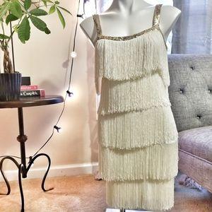 Venus Fringe Ivory Dress